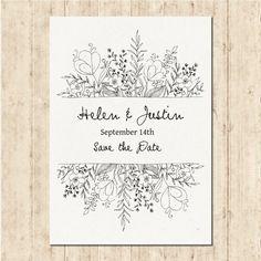 Disegnata a mano invito di nozze Vettore gratuito