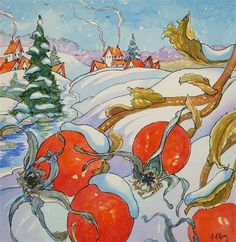 """Rose Hips on Christmas Morn Storybook Cottage Series"" - Original Fine Art for Sale - © Alida Akers"