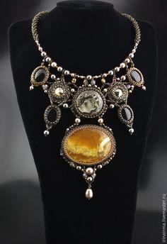 """Купить Колье """"Солнечная Апсара"""" - желтый, коричневый, коричневый цвет, колье, колье с камнями"""