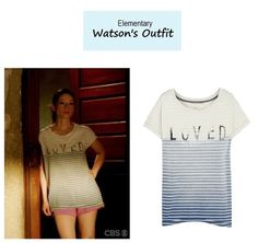 """On the blog: Joan Watson's (Lucy Liu) striped """"Loved"""" tee   Elementary - """"The…"""