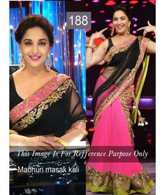 Bollywood Designer Madhuri Multi Color Lehenga Saree