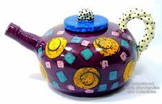 Handcrafted Ceramic Teapot Unique Purple Pottery Quirky Spout MultiColor Designs #OpArtFreeFormMultiShapesColorsPatterns