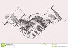 Drawing Shake Hands Partnership Vector Sketch Stock Vector - Image: 55141401