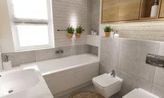 dom 120 m2 bemowo - Mała łazienka z oknem, styl nowoczesny - zdjęcie od Grafika i Projekt architektura wnętrz