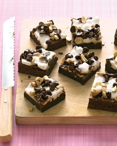 Rocky Road Brownies - Martha Stewart Recipes--  I made these for the last day of school treat.  Everyone in the house except for me tried a small bite last night and said they were good.