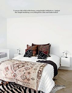 Au Lit Fine Linens — Beautiful Beds: Moroccan Influence boho bohemian chic white linen sheets bedding bed vintage earthy neutral bedroom