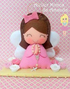 Felt Crafts, Diy Crafts, Felt Angel, Felt Christmas Ornaments, Tooth Fairy, Doll Face, Hello Kitty, Arts And Crafts, Baby Shower