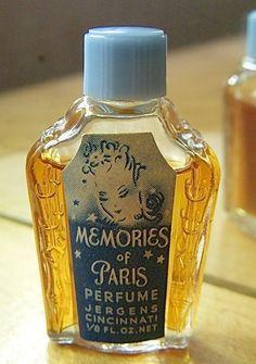Vtg Art Deco 1930-1940 Miniature MEMORIES OF PARIS by Jergens PERFUME -1/8 fl oz #JERGENS