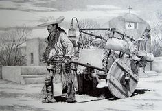 Santa Fe Trader  Available as a sepia-tone limited edition print. Original is available & was rendered in pencil by Joe Belt.