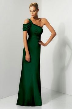 Long Dark green bridesmaids dresses one shoulder
