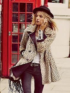 Leopard Swing Coat @}-,-;--