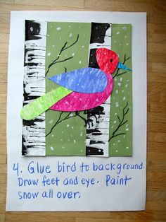 Acorn Pies: Winter Birds art project Use winter birch scraped trees with Charley Harper collage cardinals