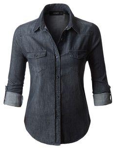 womens black denim shirt, black button down shirt, vintage denim shirt, black jean shirt, distressed shirts