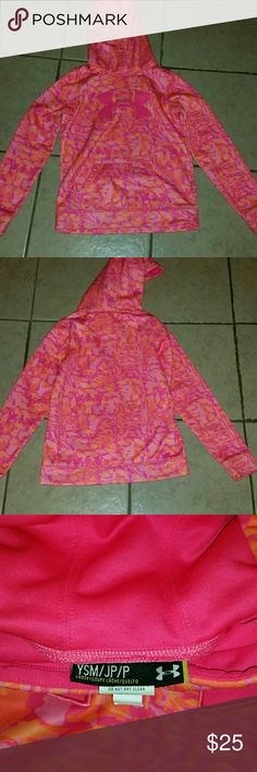 "Pink ""camo"" Under armour hoodie Girls youth small pink ""camo"" look under armour hoodie. Small marks at the end of the sleeve and a very small mark on pocket. Under Armour Shirts & Tops Sweatshirts & Hoodies"