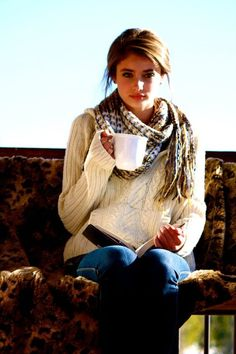 So comfy and cozy...leopard throw, chunky cable knit sweater, plaid scarf and a cup of joe!
