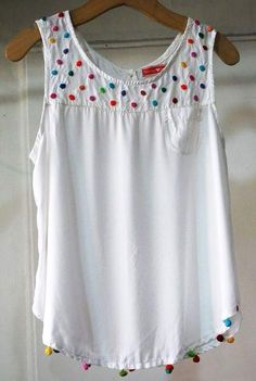 Embroider summer clothes 2 ( more complicated) - Kleidung Diy Fashion, Fashion Dresses, Womens Fashion, Abaya Mode, Diy Clothes, Clothes For Women, Baby Frocks Designs, Frock Design, Embroidered Clothes