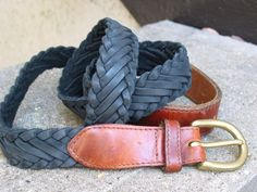 BRIGHTON Black Woven Leather Belt Mens Used Belt Size 36