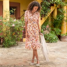 """SONORA BLOOM DRESS--Like the desert after rain, our 1940s style silk dress is radiant with colorful blooms. Side panel ruching and tie at back for shaping. Dry clean. Imported. Exclusive. Sizes 2 to 16. Approx. 44""""L."""