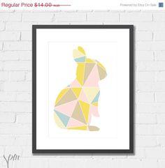Art Print Nursery Print Geometric Bunny, by ScissorsPaperMouse via Etsy