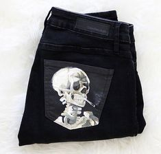 Van Gogh Skull Painted Jeans by Kessler Ramirez Vincent Van Gogh Skull of a Skeleton with a Burning Cigarette jeans by Kessler Ramirez Art – Painted jeans, painted denim, fabric art, fabric painting, pocket painting - Create Your Own Van Skull Painting, Fabric Painting, Fabric Art, Painting On Denim, Fabric Crafts, Painting Leather, Diy Crafts, Painted Jeans, Painted Clothes
