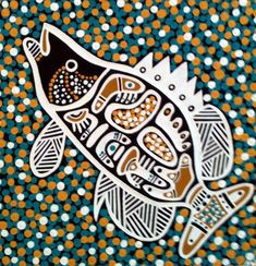 The Aboriginal Art Craft Gallery Kings Park Fish Art Aboriginal Fish Paintings ~ WCDF Aboriginal Art Symbols, Aboriginal Art Animals, Aboriginal Patterns, Aboriginal Painting, Aboriginal Culture, Aboriginal Artists, Aboriginal Tattoo, Australian Painting, Australian Art