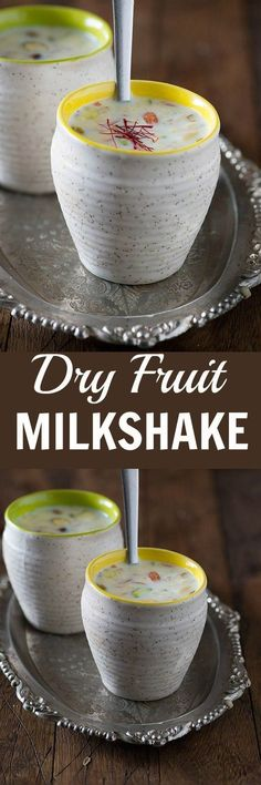 Dry fruit MilkShake Recipe – My Tasty Curry Dry fruit Milkshake is refreshing summer drink. Nutrition wise the milkshake is almost a meal in a glass with the goodness of milk, nuts, and saffron. It is perfect and rich milkshake for the breakfast. Breakfast Smoothie Recipes, Fruit Smoothie Recipes, Fruit Recipes, Healthy Smoothies, Eat Breakfast, Breakfast Ideas, Recipies, Healthy Yogurt, Yogurt Recipes