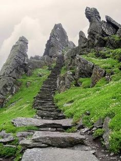 Stairs leading to Skellig Michael Monastery, Ireland by Banphrionsa