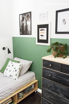 This room is full of DIY projects. The room was completed in two d Bedroom Green, Small Room Bedroom, Bedroom Decor, Bedroom Ideas, Bedroom Wall, Small Rooms, Wall Decor, Bedroom Themes, Bedroom Storage