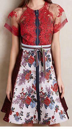 Byron Lars Red Rose Dress   eBay