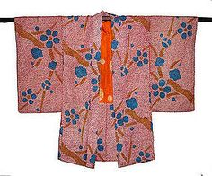 """This colorful vintage haori is from Taisho Era (ca 1912-1926). The entire exterior of the haori is made from authentic Japanese silk shibori fabric in rosy red, turquoise blue, and mustard brown, while the lining is another authentic silk shibori in orange and off white. There are some repairs on the interior lining (around the under arms, almost invisible), but otherwise it is in excellent condition. Dimensions: Length: approximately 44.5"""" Width: approximately 22.5"""" Sleeve to Sleeve…"""