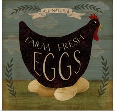 Add country-inspired charm to your setting with the gallery-wrapped buyartforless Farm Fresh Eggs Wall Art. This farm-fresh print is featured on canvas stretched atop a wood frame. The giclee-quality production ensures its lasting brilliance. Primitive Painting, Primitive Folk Art, Primitive Signs, Rooster Painting, Rooster Art, Primitive Crafts, Painting Art, Eggs For Sale, Grove Farm