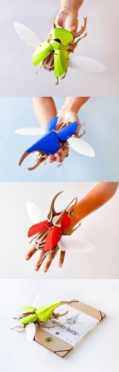 DIY Paper Beetle Sculpture Kits by Assembli