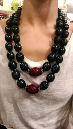 Angela Caputi (Italy) Double Strand Statement Necklace Olive Green & Wine Red | Jewelry & Watches, Fashion Jewelry, Necklaces & Pendants | eBay!