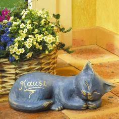Katze mit Namen - Eine bleibende Erinnerung an einen treuen Wegbegleiter. Auch für Terrasse und Garten geeignet.