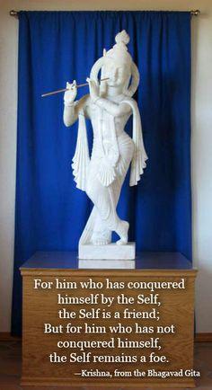 Krishna murti at our ashram. Hindu Quotes, Gita Quotes, Religious Quotes, Radha Krishna Quotes, Krishna Radha, Lord Krishna, Gods Grace, Divine Grace, Indian Spirituality