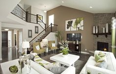 Contemporary Living Room with Eldorado stone stacked stone, Masland Contract Moderns Collection Altered Course #7241