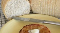 Like english muffins, slices of this bread must be toasted to taste right.  Grandma used to bake this in large greased cans coated with cornmeal, which added to the english muffin appearance.  Today she uses non-stick pans.