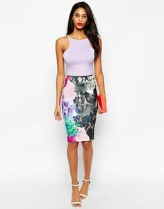 ASOS Pencil Skirt in Texture with Oversized Floral Print