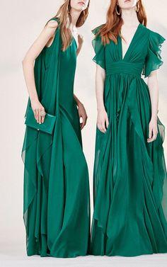 Crepe Georgette V-Neck Dress by Elie Saab for Preorder on Moda Operandi