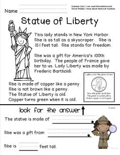 Reading comprehension sheet about the Statue of Liberty for primary grades.