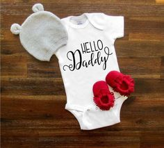 Hello Daddy, New dad, Baby onesie® IVF Baby Shower Gift Pregnancy Annoucement onesie® Newborn Onesie® Baby Boy Baby Girl Clothing by TheBarnCustomDesigns on Etsy https://www.etsy.com/listing/564095814/hello-daddy-new-dad-baby-onesie-ivf-baby