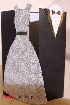 Biglietto per matrimonio. #wedding #sposi #dress #auguri #card #handmade #black #white
