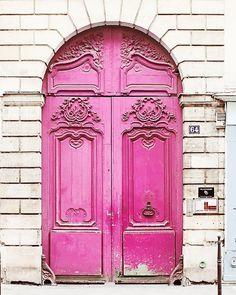 Neon Pink Door Paris France Home Decor Art Photography Print Magenta Brick White French Travel Girls Room Feminine Love Cool Doors, The Doors, Unique Doors, Windows And Doors, Front Doors, Arched Doors, Tout Rose, Porte Cochere, Paris Poster