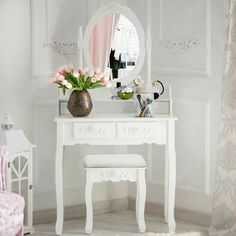 House of Hampton Geoffrey Vanity Set with Stool and Mirror (Base/Top) Color: White/White Dressing Stool, Vanity Set With Mirror, Mirror Stool, Vanity Table Set, Wood Vanity, Vanity Table, Room Colors, House Of Hampton, Vanity Set