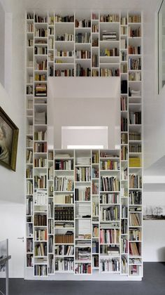 Boxes of book shelves catered to all sizes of books - idealistic spaces for book hoarders like me..