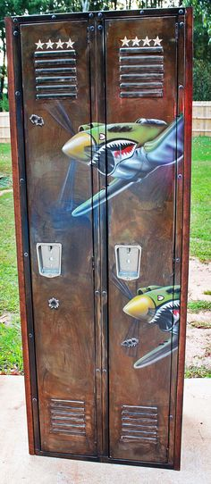 Reclaimed double locker with incredible hand painted P40 Flying Tigers