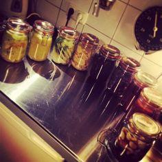 Kleiner Regenbogen meiner neu angesetzten Fermente.  von links nach rechts:  1) Spitzkohl, Apfel, Nelken, Koriander. 2) Apfel-Knoblauch-Chutney. 3) Fenchel und Knoblauch. 4) umezu-shōga/ Gari. 5) Rotkraut plain. 6) Rotkraut, Spitzkohl, Knoblauch. 7) lila Möhrensticks mit Ingwer. 8) Rettich, Möhre, Wirsing, Apfel, Ingwer. 9) Knoblauchhonig.