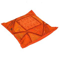 sierkussen patchwork oranje