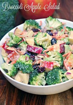 Want a quick lunch idea or side dish to bring to a potluck dinner? Try this Creamy Broccoli Apple Salad Recipe with Walnuts. Loads of flavor with plenty of crunch! Apple Salad Recipes, Salad Recipes For Dinner, Vegetarian Recipes, Cooking Recipes, Healthy Recipes, Vegetarian Steak, Healthy Dinners, Easy Summer Salads, Summer Bbq