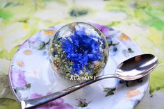 Paperweight blue Cornflowers  gift for her birthday or